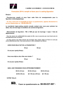 FORMULAIRE Renseignements casting FR 2014-1